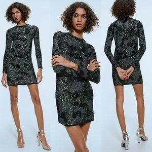 Zara Sequin Camouflage Dress Long Sleeve